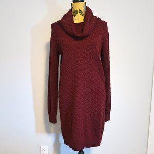 Twik Burgundy Knit Turtle Neck Long Sleeve Dress M